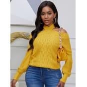 lovely Stylish Lace-up Yellow Sweater