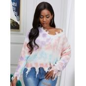 Lovely Leisure V Neck Tie-dye Multicolor Sweater