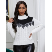 lovely Stylish Lace Patchwork White Sweater
