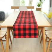 lovely Trendy Grid Print Red Decorative Table Line