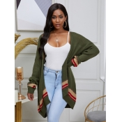 lovely Casual Patchwork Loose Army Green Cardigan