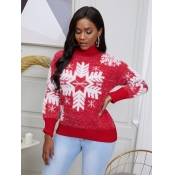 lovely Stylish Turtleneck Print Red Sweater