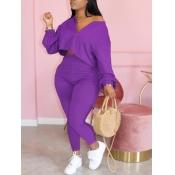 lovely Casual Zipper Design Purple Plus Size Two-p