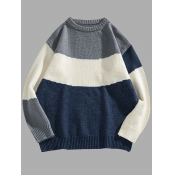 lovely Casual O Neck Patchwork Blue Men Sweater