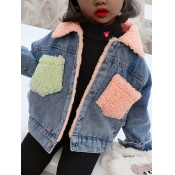 lovely Street Turndown Collar Patchwork Blue Girl Coat