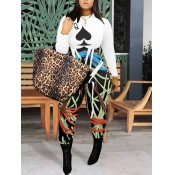 lovely Casual O Neck Print Patchwork White One-pie