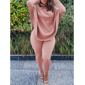 Lovely Casual Turtleneck Loose Pink Plus Size Two-piece Pants Set