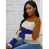 lovely Sweet Turtleneck Striped Patchwork Brown Sw