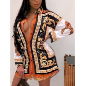 lovely Trendy Turndown Collar Versace Print Orange