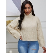lovely Casual Turtleneck Loose White Sweater
