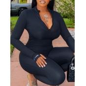 Lovely Trendy Zipper Design Black One-piece Jumpsuit