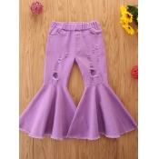 lovely Trendy Broken Holes Purple Girl Jeans