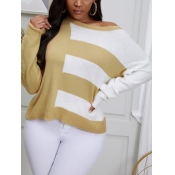 lovely Trendy O Neck Patchwork White Sweater