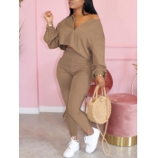 Lovely Casual Zipper Design Khaki Two Piece Pants Set