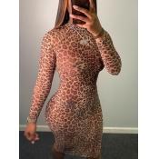lovely Trendy Half A Turtleneck Leopard Print Brow