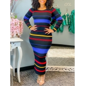 Lovely Casual O Neck Rainbow Striped Black Ankle Length Dress
