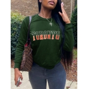 lovely Casual O Neck Letter Print Green Hoodie