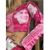 lovely Street One Shoulder Print Pink T-shirt