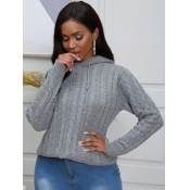 lovely Street Hooded Collar Basic Grey Sweater