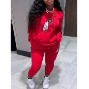 lovely Casual Hooded Collar Long Sleeve Red Two Pi