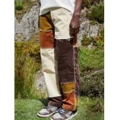 lovely Street Color-lump Patchwork Brown Men Jeans