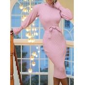 lovely Trendy Turtleneck Striped Pink Knee Length