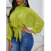 lovely Trendy Turtleneck Lace-up Green Blouse