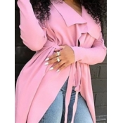 lovely Trendy Turndown Collar Loose Pink Trench Co