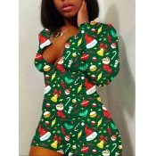 Lovely Casual V Neck Christmas Day Full Print Green One-piece Romper
