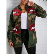 lovely Casual Sequined Decorative Camo Print Coat