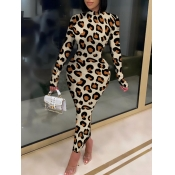 Lovely Casual Turtleneck Skinny Leopard Print Ankle Length Dress
