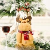 lovely Christmas Day Cartoon Khaki Wine Bag