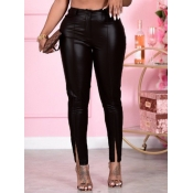 lovely Casual Front Slit Skinny Black Pants
