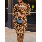 Lovely Sexy Leopard Print Hollow-out Knee Length D