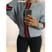 Lovely Trendy O Neck Patchwork Loose Grey Sweater