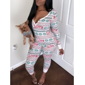 Lovely Sweet Christmas Day Letter Print White One-piece Jumpsuit