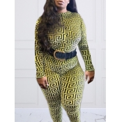 lovely Casual O Neck Long Sleeve Yellow Plus Size