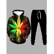Lovely Casual Hooded Collar Print Black Men Two-piece Pants Set