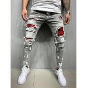 lovely Street Broken Holes Grey Men Jeans