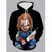 lovely Street Hooded Collar Cartoon Print Black Men Hoodie