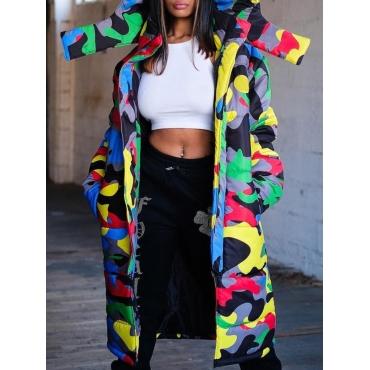 Lovely Trendy Hooded Collar Camo Print Long Parka