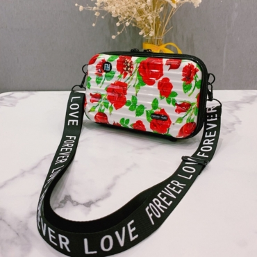 Lovely Trendy Floral Print Red Makeup Bag