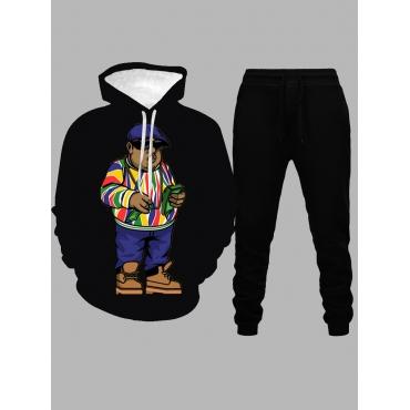 LW Men Euramerican Hooded Collar Cartoon Print Black Two-piece Pants Set
