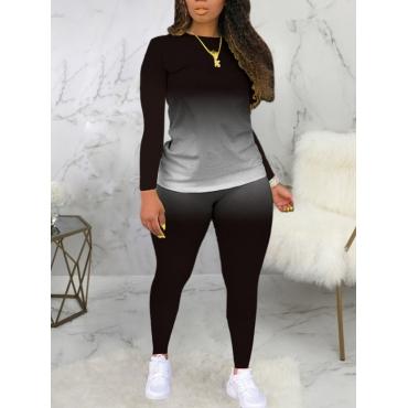 LW Plus Size Casual O Neck Gradient Print Black Two-piece Pants Set