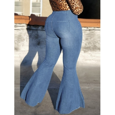 Lovely Stylish High-waisted Flared Baby Blue Jeans