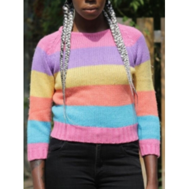 Lovely Stylish Rainbow Striped Multicolor Sweater