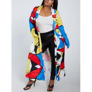 lovely Trendy Turndown Collar Print Multicolor Long Trench Coat