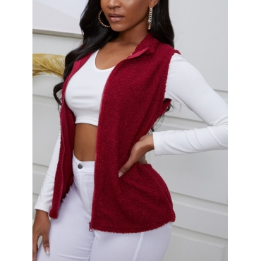 Lovely Casual Turndown Collar Zipper Design Red Wa