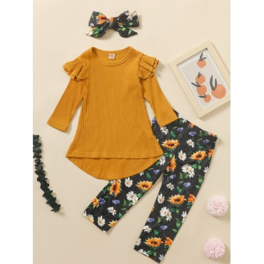 Lovely Sweet O Neck Floral Print Yellow Girl Two-p