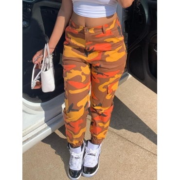 Lovely Street Camo Print Orange Pants